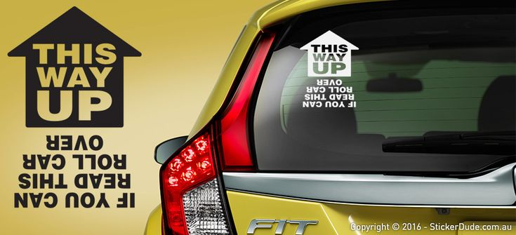 This Way Up - Roll Car Over Sticker | Worldwide Post | Range Of Sticker Colours