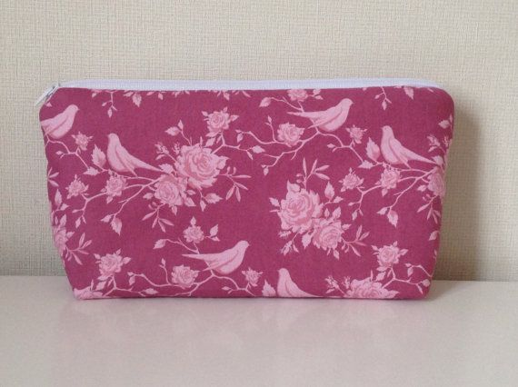 Birds and flowers cosmetic bag  Tilda spring by HomeChicHomeGifts
