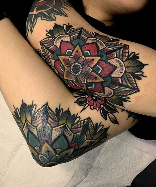 Great Mandalas Tattoo Design on Elbows