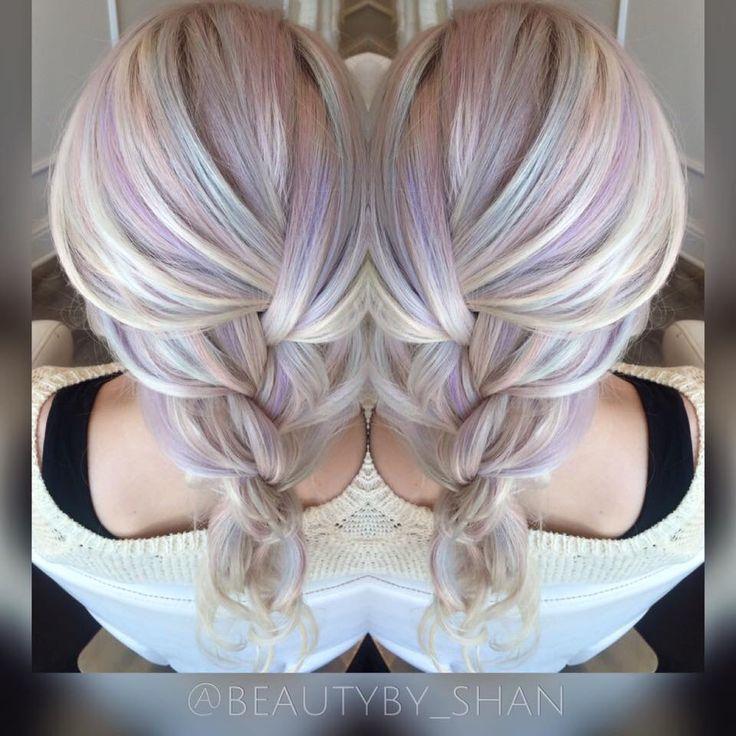 Opal hair. Unicorn hair. Pastel hair. Mermaid hair. Pravana pastels. Balayage. Color melt. Icy blonde. White blonde. Dream hair. Follow me: @beautyby_shan https://www.facebook.com/ShanAinsworth/