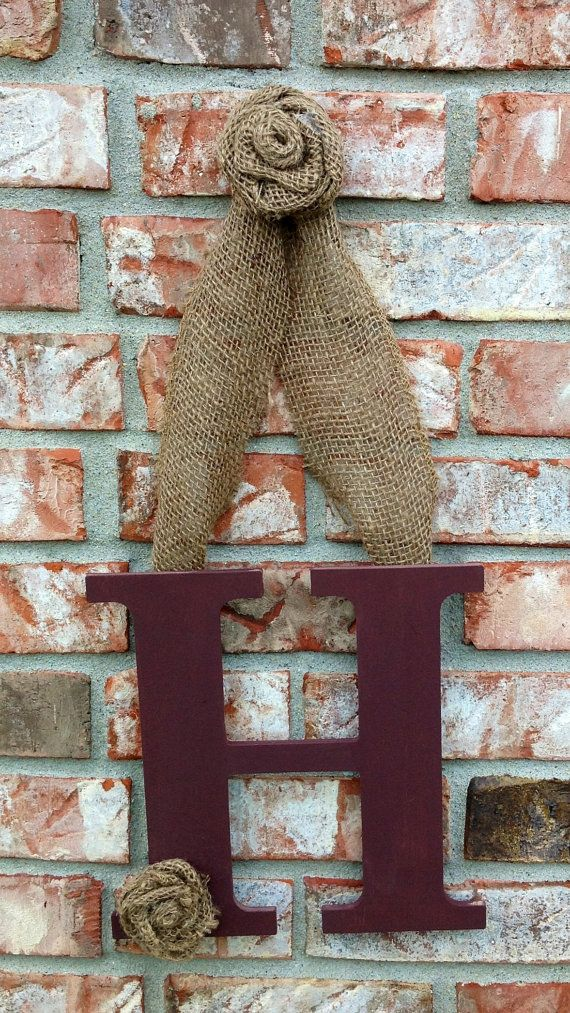 Burlap and wood initial wreath - Choose your Letter and Color. $20.00, via Etsy.