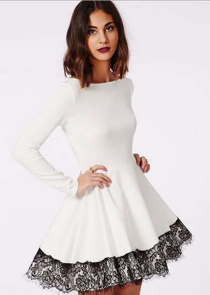 Women Eyelash Lace Floral Vintage White Dress Elegant Pleated Embroidery Dress Cute Causal Poyester Mini Lace Dress Autumn Retro   OK Fashion