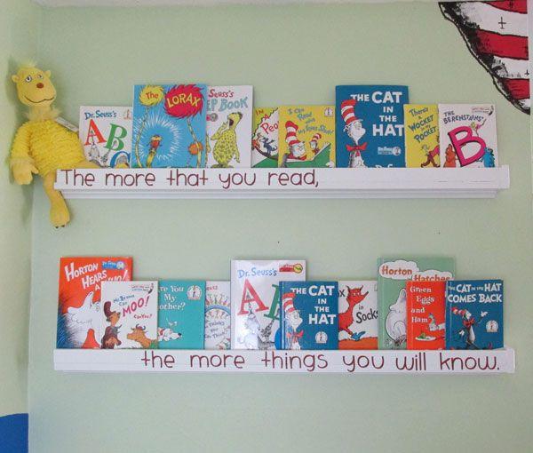 Hubby made these Dr. Seuss nursery wall shelves, too!