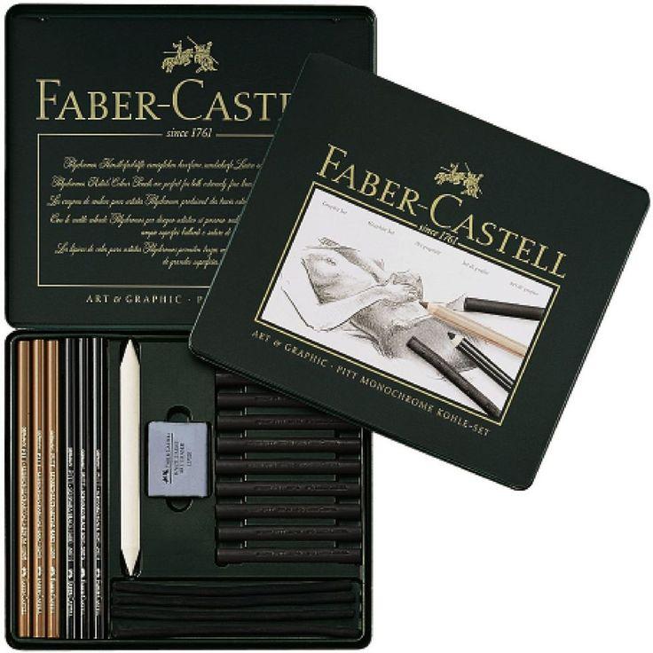 Faber-Castell PITT Monochrome Kohle Set Charcoal Tin 22 Professional Artist #FaberCastell