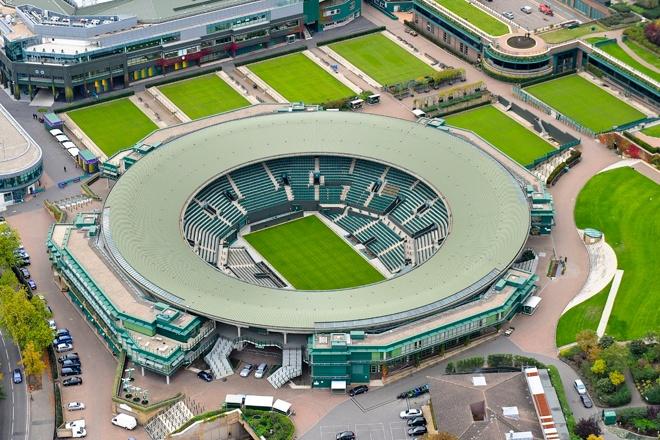 An aerial photograph of No 1 Court, Wimbledon Lawn Tennis Club, South West London