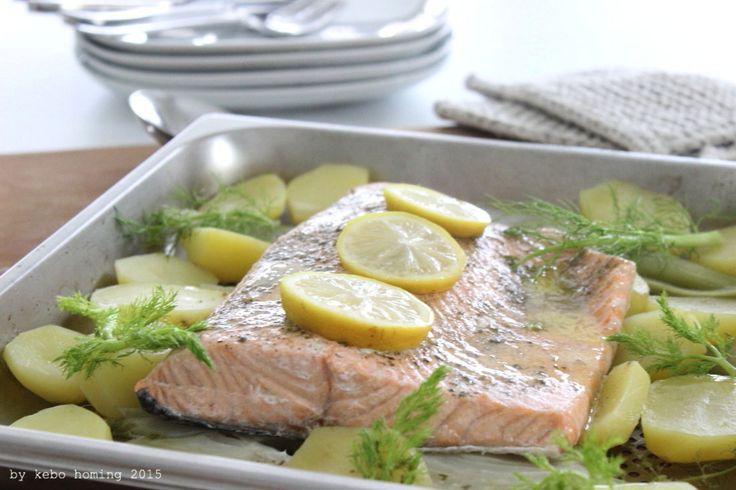 Für die Figur... und für den Gaumen... wunderbarer glasiger Lachs, ganz schonend gegart, mit Fenchel und Kartoffeln...