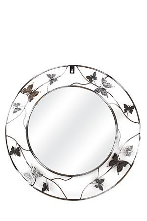 """This mirror has a feminine wrought iron frame with butterfly and floral detail. It is suitable for inside or on the veranda of your home. The diameter is 52cm.<BR><BR><b class=""""descTitle"""">Dimensions:</b><BR>Dia 52cm"""