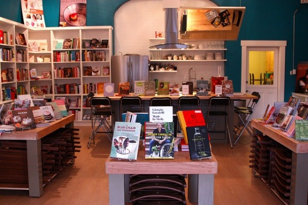 The Book Larder, Seattle. A who shop dedicated to cookbooks, and chat and wine around the cookbooks. Heaven.