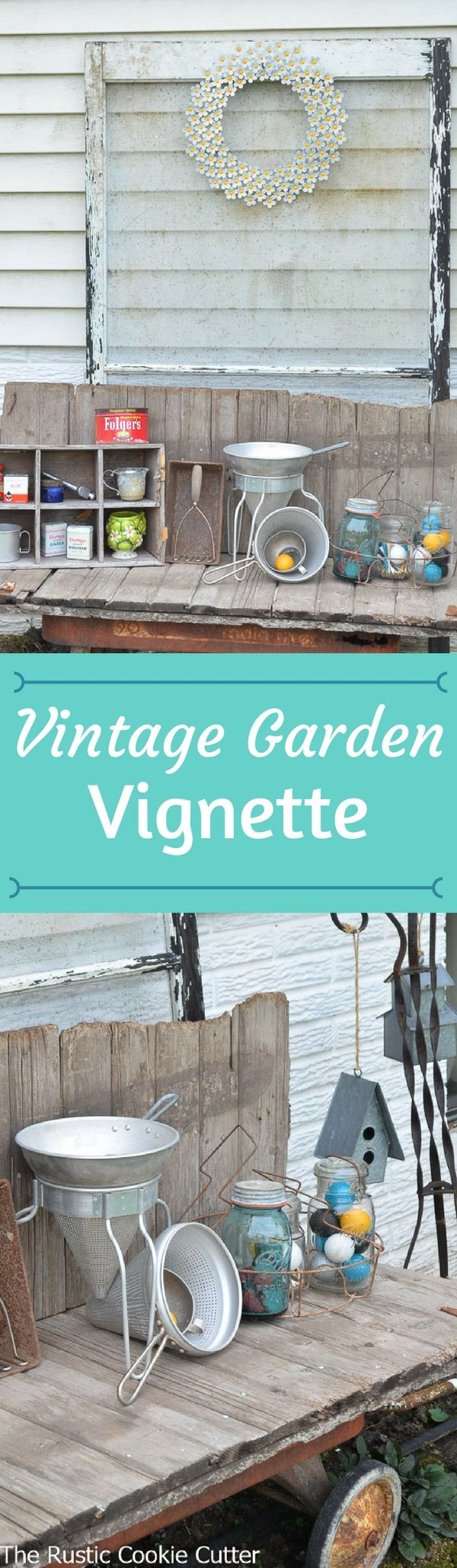 My vintage garden vignette on the north side of our house. I love how it turned out with my vintage treasures!