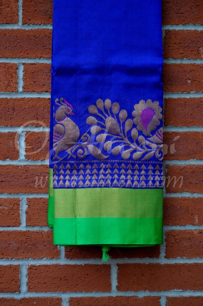 Dark Blue Plain Kuppadam Saree with Broad Pink/Zari/Peacock Border
