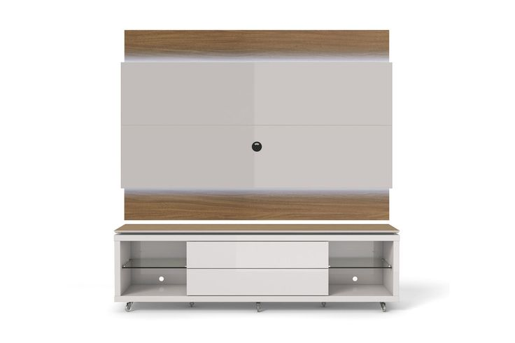 Lincoln TV Stand with Silicone Casters and Lincoln Floating Wall TV Panel with LED Lights 2.2 in Maple Cream and Off White