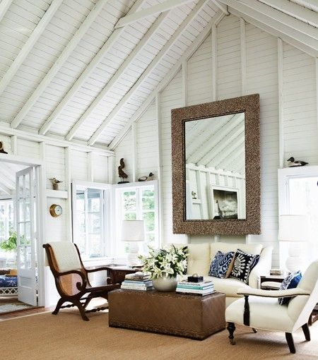 need to paint ceiling solid white: Decor, Mirror, Cottages Living Rooms, Cottages Houses, Idea, Interiors Design, High Ceilings, Beaches Houses, Vaulted Ceilings