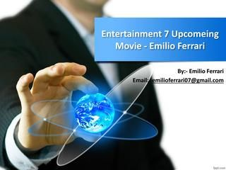 """Entertainment 7 Upcomeing Movie - About Emilio Ferrari  The Entertainment 7 reported today the up and coming arrival of Not Another Celebrity Movie, a clever new comic   drama with the greatest """"VIP"""" cast on the littlest creation spending plan at any point recorded! Coordinated and   delivered by Emilio Ferrari and exhibited by First Napoleon Productions in relationship with A Plus   Entertainment, the film will make its introduction in February 2013 at the Berlin International Film…"""