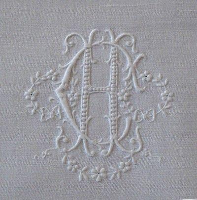 Em's Heart Antique Linens -Antique Embroidered Appenzell linen monogrammed napkins