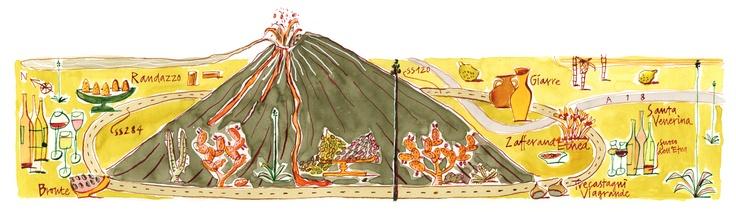 Giulia Binfield - Food map of the area around Mount Etna in Sicily for La Repubblica