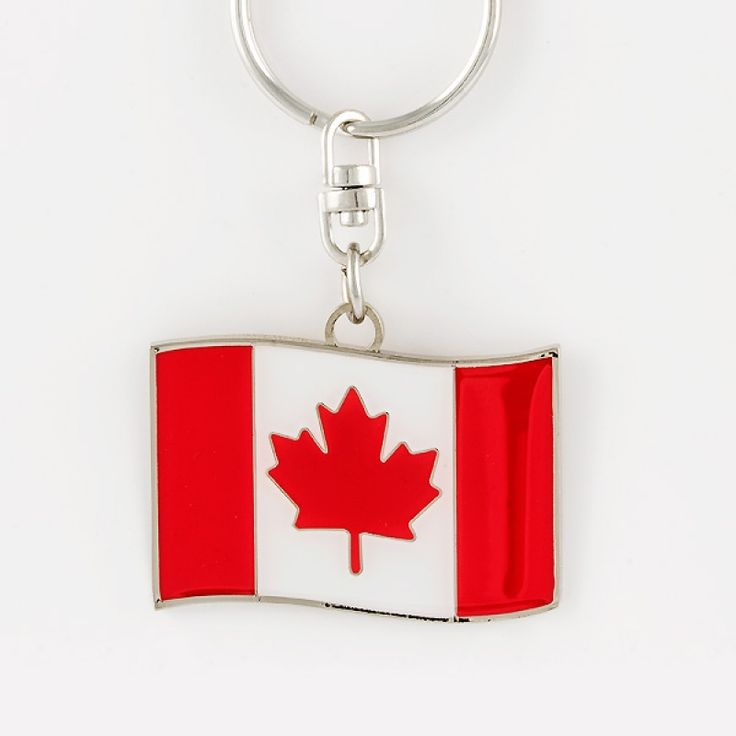 Canada Flag Keychain- Show off your Canadian pride with our Canada flag keychain. Engrave a name or special message on the back for a personal touch.