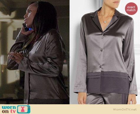 Olivia's grey satin pajamas on Scandal.  Outfit Details: http://wornontv.net/38113/ #Scandal