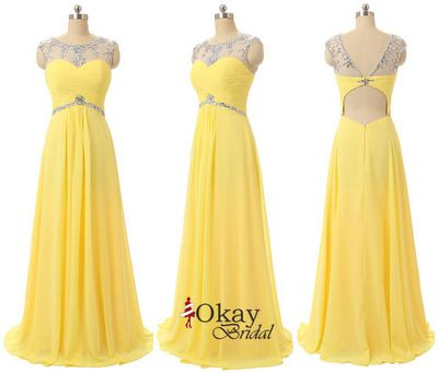 Yellow Prom Dress,Beaded Prom Dress,Open Back Prom Dress,Long Prom Dress,Charming Prom Dress,PD1233