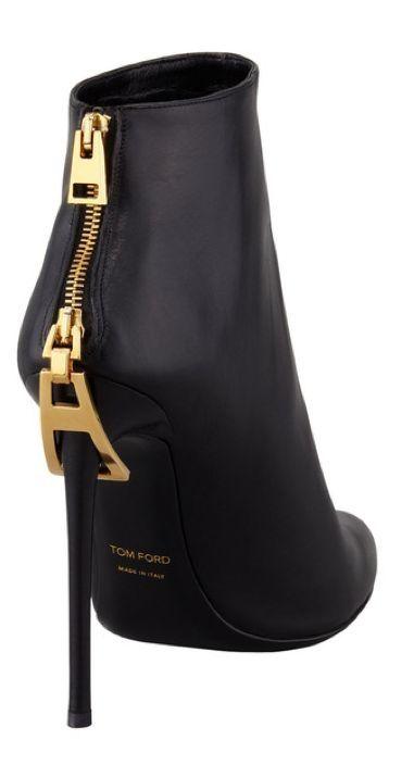 Black w/ golden zipper TOM FORD ankle boot