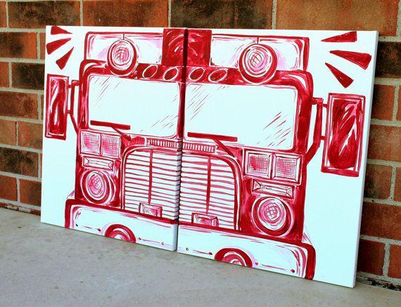 BIG red fire truck art . 20x32 . modern art on by sincerelyYOU, $74.00