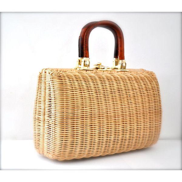 Vintage Straw Purse Handbag Wicker Romantic Spring ($14) ❤ liked on Polyvore