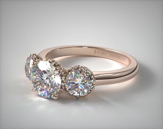 14K Rose Gold Three Stone Sunburst Ring