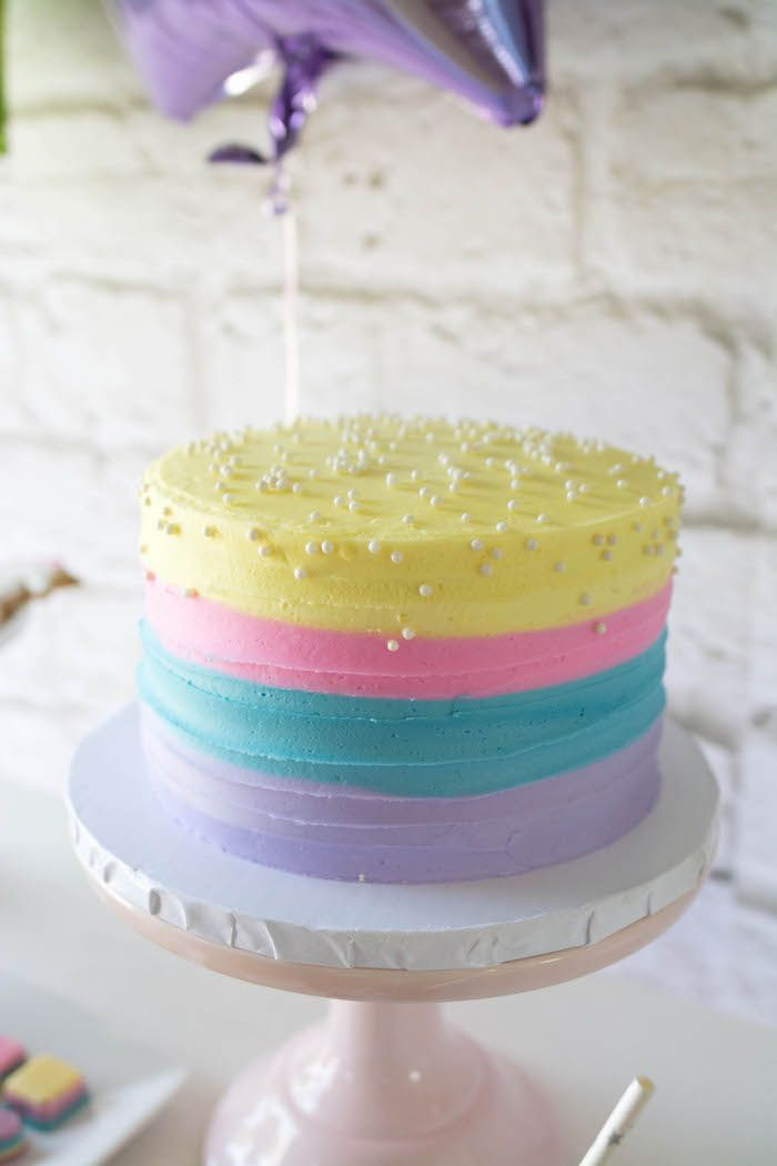 Cake from a Rainbow Unicorn Birthday Party via Kara's Party Ideas KarasPartyIdeas.com (23)