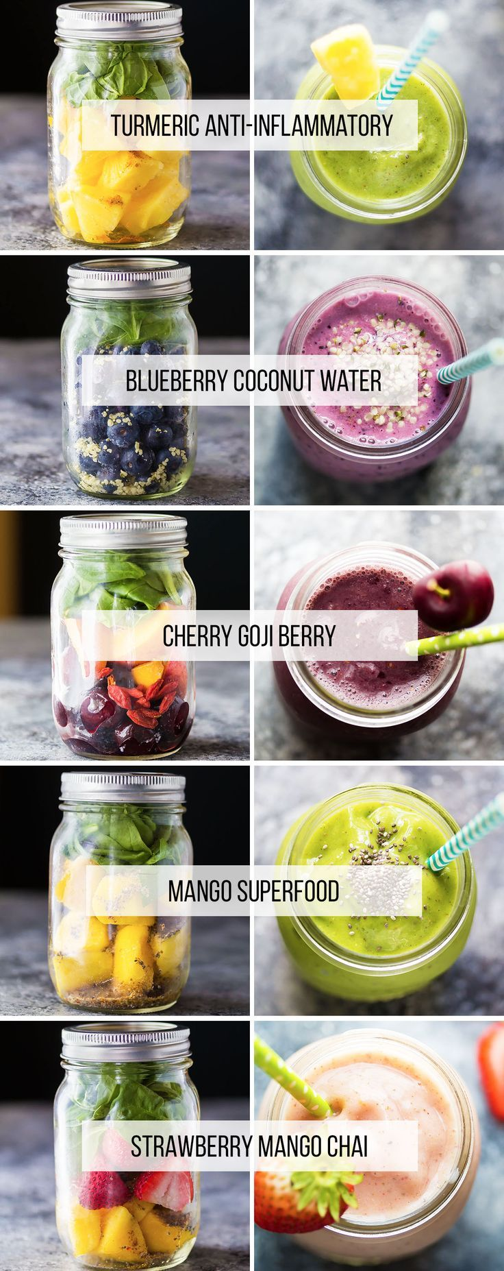 5 Make Ahead Smoothies.  Sugar free, banana free, with instructions to make them ahead and freeze them.