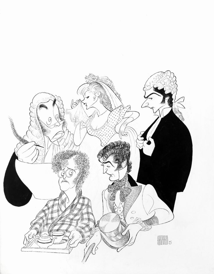 "Al Hirschfeld ~ Frankie Howerd, Kate Flowers and Tom McDonnell in ""Trial by Jury,"" and John Fryatt and Russell Smyth in ""Cox and Box"""