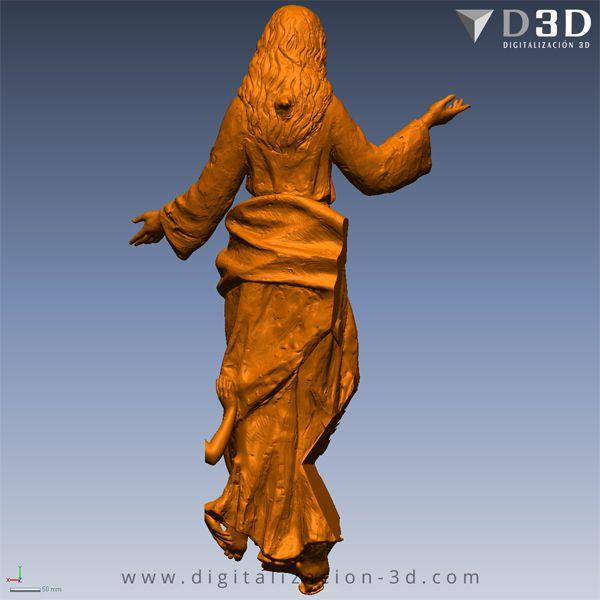 Modelo 3d de la Virgen - Espalda