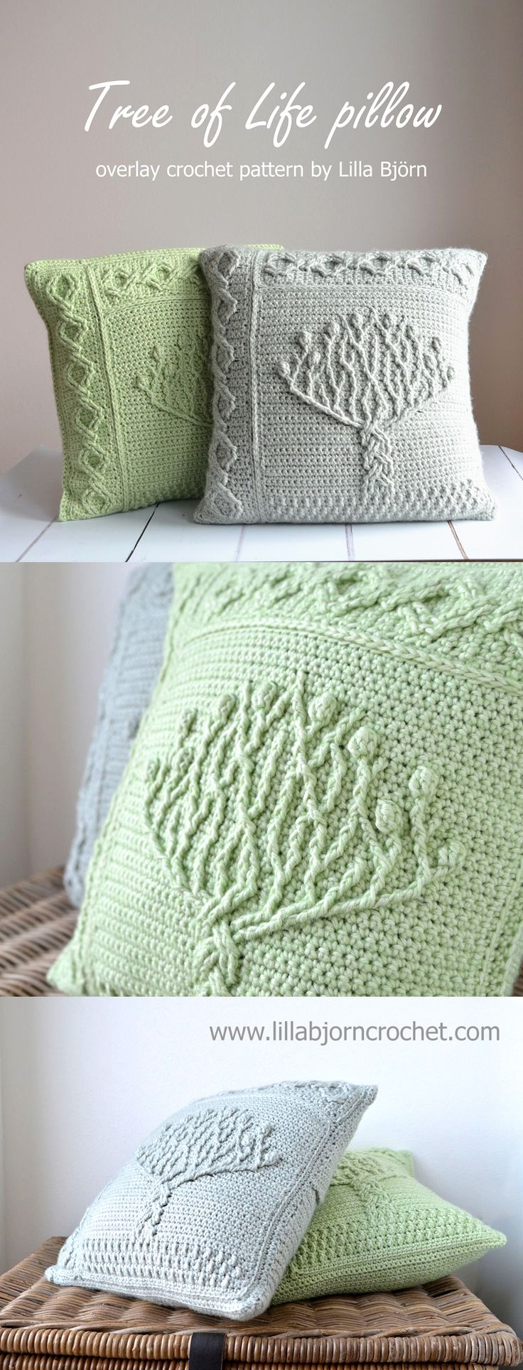 Tree of Life pillow - overlay crochet pattern by Lilla Bjorn. Tree panel can be used for a potholder or as afghan motif.