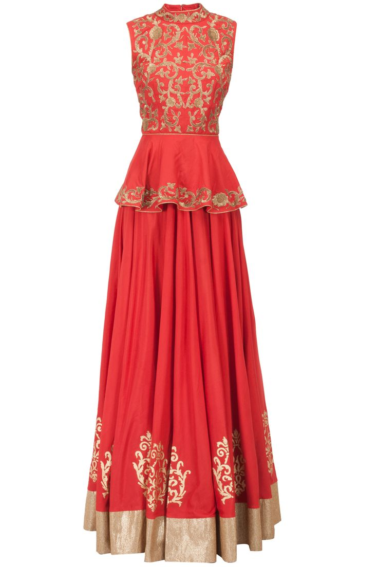 Red embroidered peplum top and lehenga: This set features a red peplum with beige dori, thread and antique finish sequins work and cut out detail at back.  It comes along with cotton silk lehenga with block printed motifs on border - J BY JANNAT