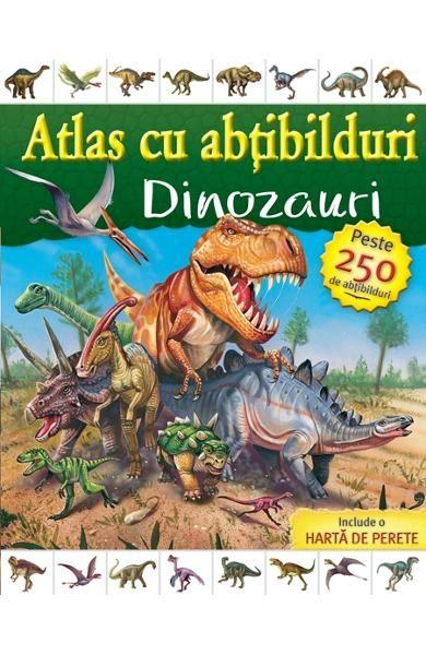 """Atlas cu abtibilduri - Dinozauri - Editura Rao; Varsta: 3+; Lumea fascinantă a dinozaurilor în """"Atlasul cu abţibilduri!"""" Copiii vor fi încântaţi să afle mai multe despre dinozauri şi locurile în care au trăit, în timp ce lipesc abţibildurile pe harta de perete. Cu ilustraţii minunate şi peste 250 de abţibilduri, această carte este o lucrare de referinţă încântătoare, perfectă pentru orice copil."""