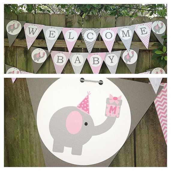 Elephant Themed Baby Shower or Birthday Banner for Girls / Grey & Pink / Baby Girl Shower with Elephants on Etsy, $26.00