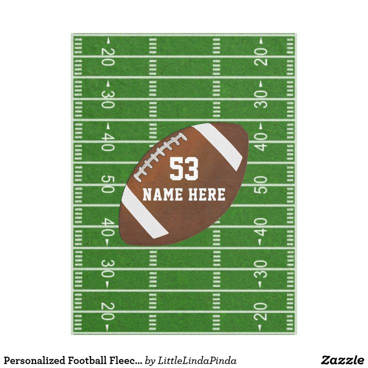 Personalized Football Fleece Blanket with Your Name, Jersey Number or Monogram or delete text. CLICK: https://www.zazzle.com/z/39l83 You can change the white text colors to Your Team or Football Bedroom COLORS. Cool Football Field and designs can be resized or moved around. Have fun creating these personalized senior night football gifts. MORE football gifts for players and coaches: http://www.zazzle.com/littlelindapinda/gifts?cg=196532339247083789&rf=238147997806552929&rf=238147997806552929