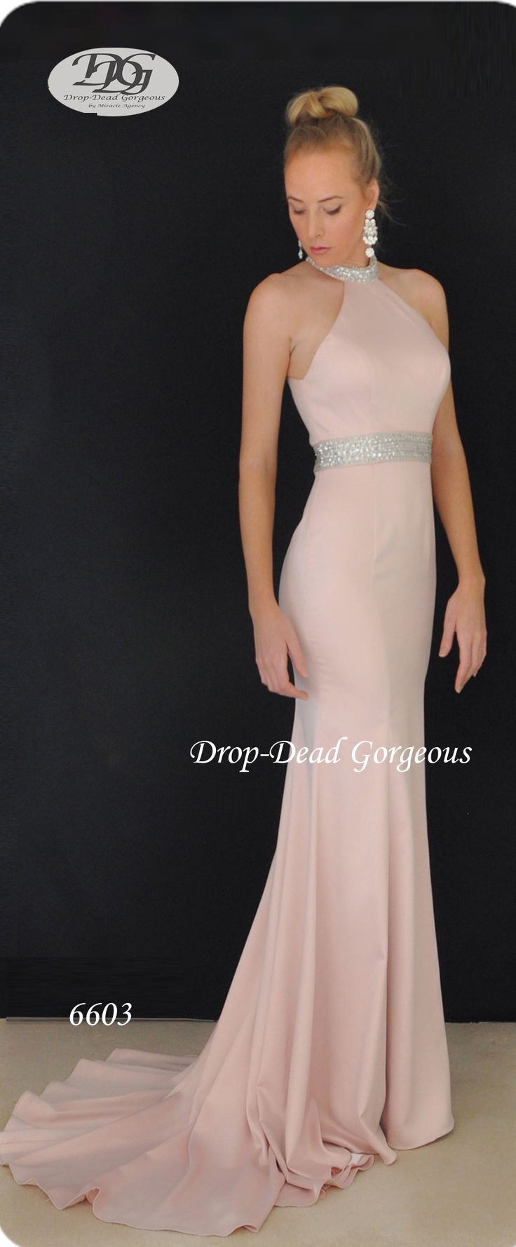 Drop-Dead Gorgeous 2016 Collection Cleo Neck Satin gown with handsewn beaded embelishments  #schoolformal  #evening #satin #balldress #DropDeadGorgeous #Miracleagency  www.miracleagency.net