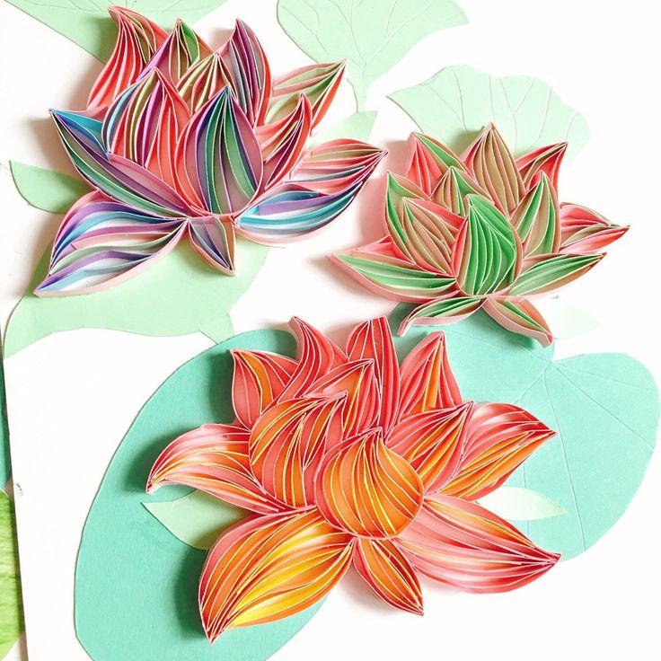 Люблю, открытка цветок из полосок