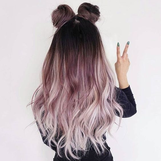 Summer Hairstyles   : Metallic Mauve Ombré  The Space Bun Trend Is Still Going …