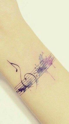 Watercolour music tattoo