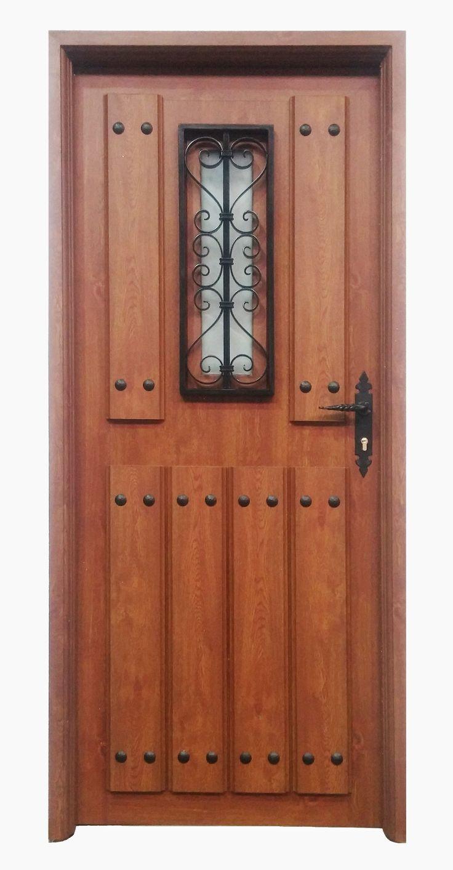 Puerta rustica aragon ventana en color embero puertas for Puertas de calle aluminio precios