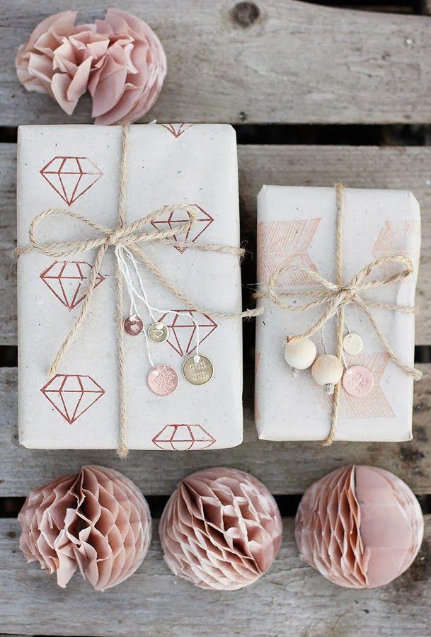 Dusky pink gift wrap.