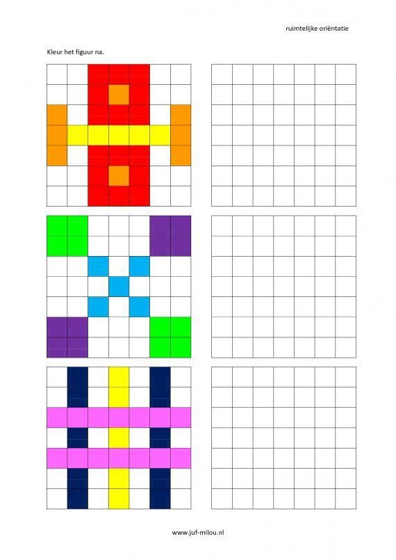 Werkbladen - ruimtelijke orientatie - nakleuren ~ Juf Milouהתמצאות במרחב