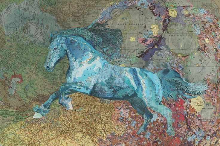 Blue Horse by Matthew Cusick, 2011, recycled maps collage: Collage Artworks, Matthewcusick, Matthew Cusick, Old Maps, Maps Collage, Art Collage, Blue Out, Maps Art, Painting