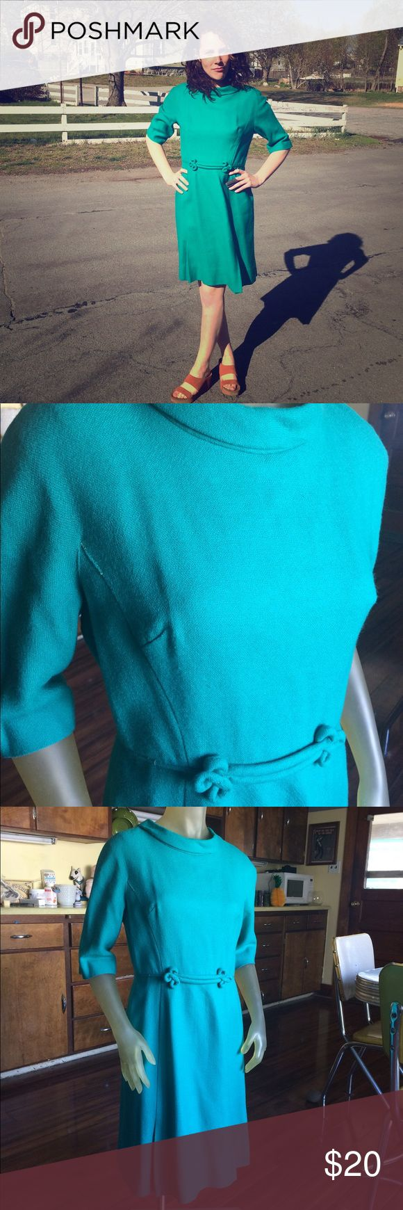 """1960s Teal Green Dress Vintage Timeless sm/m Timeless three quarter length sleeve 1960s dress with waist detailing. This is in great vintage condition, see photos for flaws. Size small/medium. Best for 28"""" waist. Vintage Dresses Long Sleeve"""