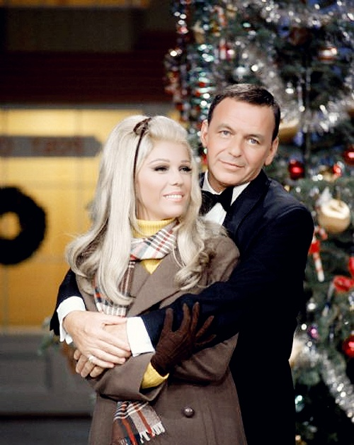 frank and nancy sinatra vintage christmas photo