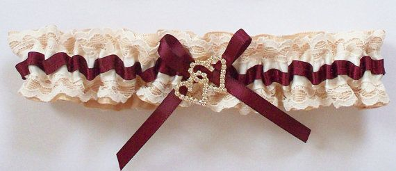 Gold Wedding Garter with Ivory Lace and Burgundy Ribbon, Gold and Rhinestone Double Heart - The Burgundy and Gold TRICIA garter