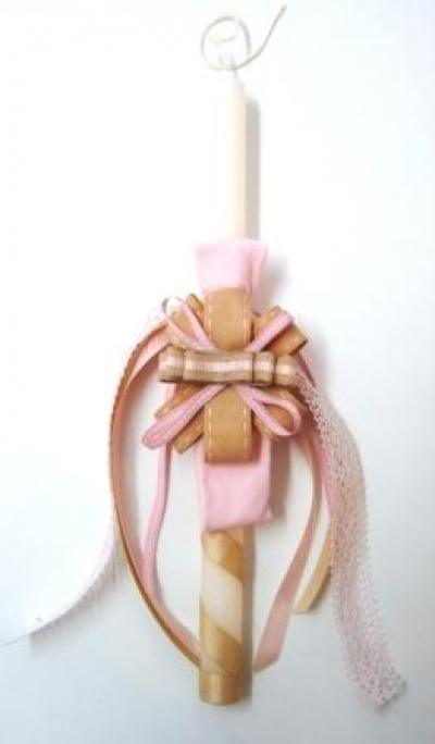 Πασχαλινή λαμπάδα με χειροποίητη κορδέλα μαλλίων ενσωματωμένη