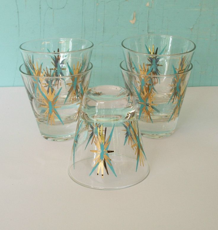Vintage Atomic Pattern Bar Glasses set of 5 Mid Century Modern Turquoise and Gold double shot glasses