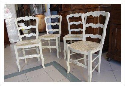 Gruppo 4 sedie provenzali Shabby laccata seggiole Vintage. Anni 1940 restaurate Antiche
