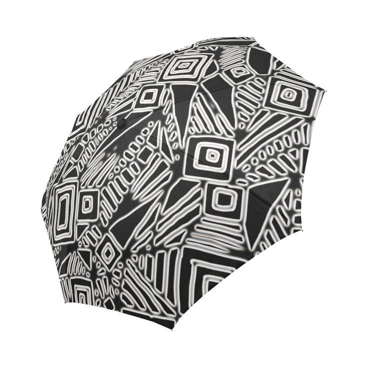Optical Illusion, Black and White Art Auto-Foldable Umbrella
